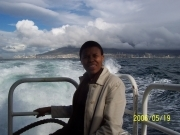 Asanda on the long ride to Robben Island